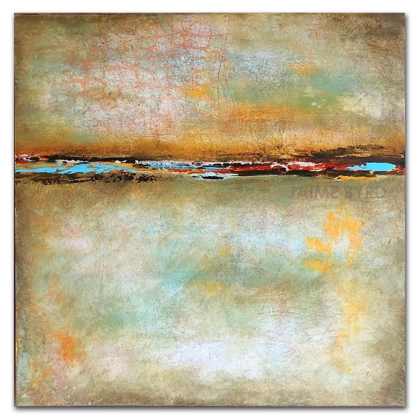 Green Escape - abstract oil and cold wax by abstract artist Jaime Byrd