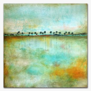 Cool Breeze - oil and cold wax abstract landscape with augmented reality by contemporary artist Jaime Byrd