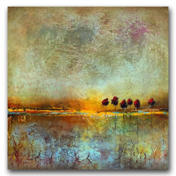 Follow Your Dreams No. 2 - abstract landscape oil and cold wax painting with augmented reality by contemporary artist Jaime Byrd