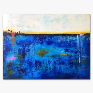 Introspective Journey - blue abstract landscape in oil and cold wax with augmented reality by contemporary artist Jaime Byrd
