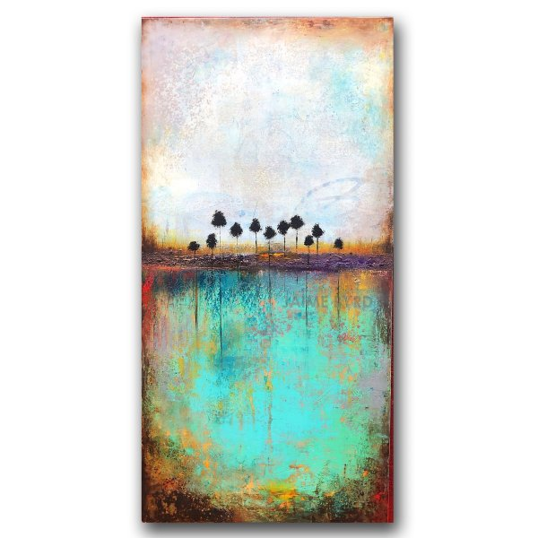 Rooted Deeper No. 12 - abstract landscape oil and cold wax painting with Augmented Reality by contemporary artist Jaime Byrd