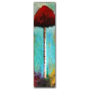 Stand Tall No. 2 - abstract landscape oil and cold wax painting with red tree and augmented reality by contemporary artist Jaime Byrd