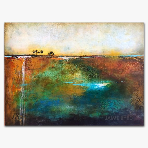 Take Your Time - abstract landscape oil and cold wax painting with augmented reality by contemporary artist Jaime Byrd