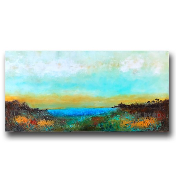 Landscape abstract blue and orange oil painting by Jaime Byrd
