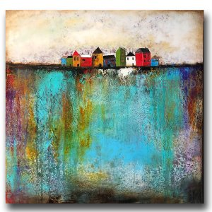 Just Another Day - oil and cold wax painting with buildings by contemporary artist Jaime Byrd