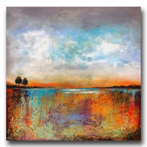 Eastern Sunrise - abstract landscape oil and cold wax painting with augmented reality by contemporary artist Jaime Byrd