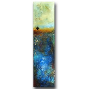 Gold Bluff - abstract landscape oil and cold wax painting by contemporary artist Jaime Byrd