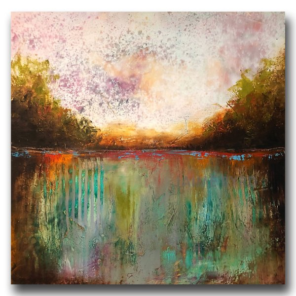 Overgrowth - abstract landscape oil and cold wax painting by contemporary artist Jaime Byrd