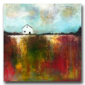 Red abstract landscape oil painting with white house by Jaime Byrd