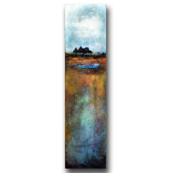 Watering Hole - abstract landscape oil and cold wax painting by contemporary artist and painter Jaime Byrd