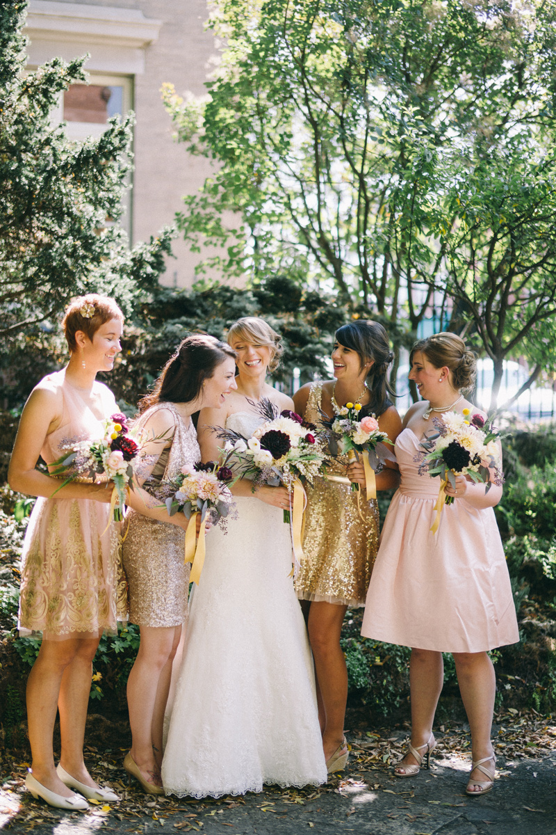 gold and pink bridesmaids in Stillwater Minnesota