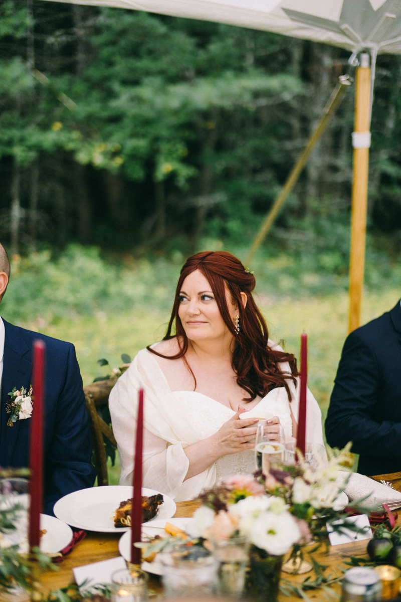 backyard intimate wedding with fall palette in dayton maine