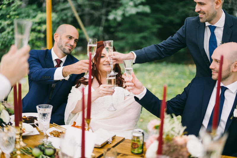 backyard intimate wedding with fall colors in dayton maine