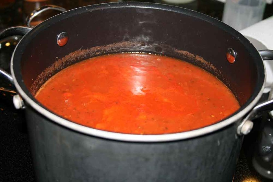 Tomato sauce simmering