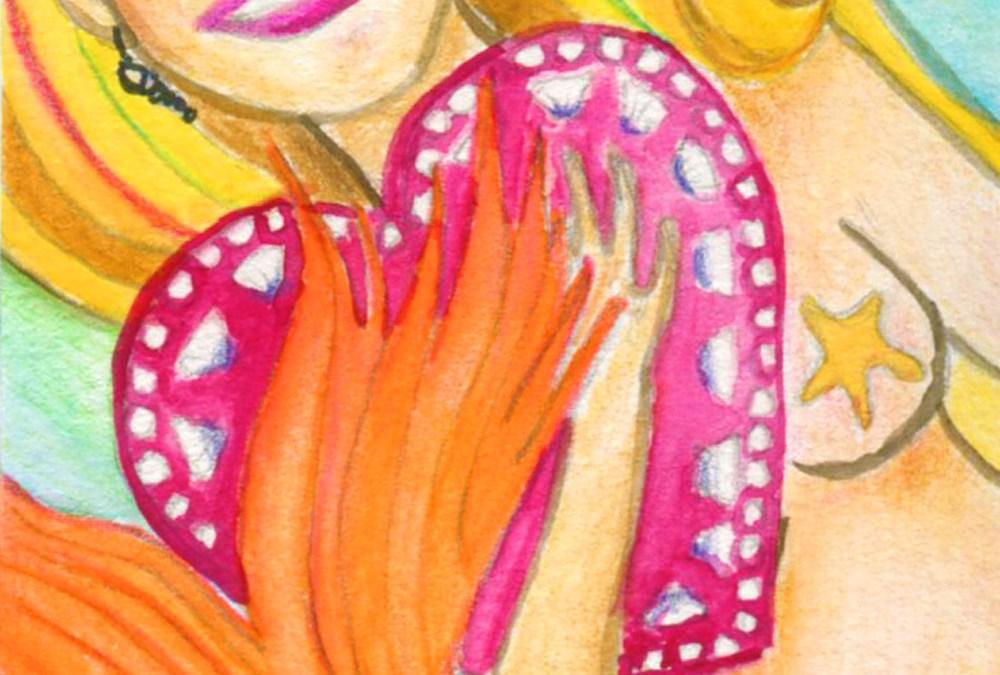 """Mermaid Painting """"Happy"""""""