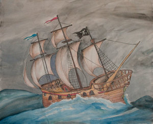 painting of wooden ship on turbulent ocean