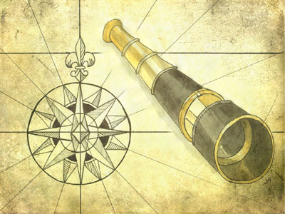 Compass and monocular Mixed Media