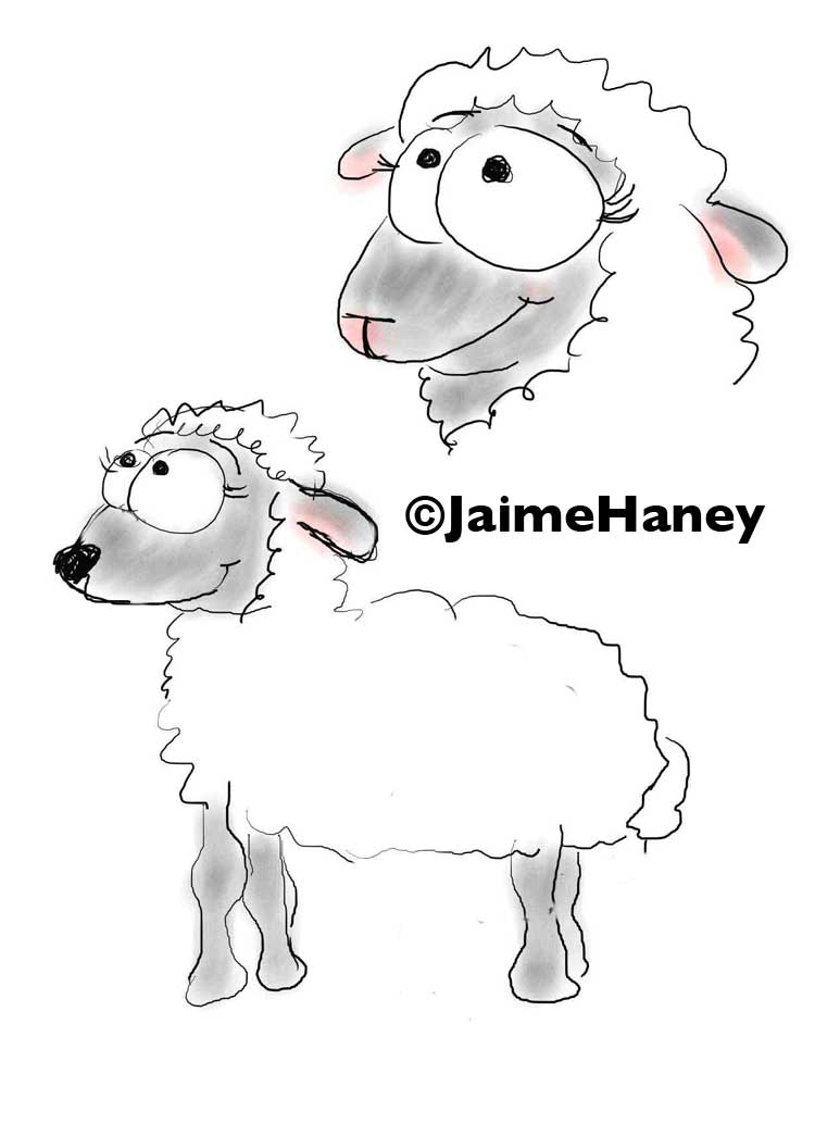 Little Lamb cartoon sketch