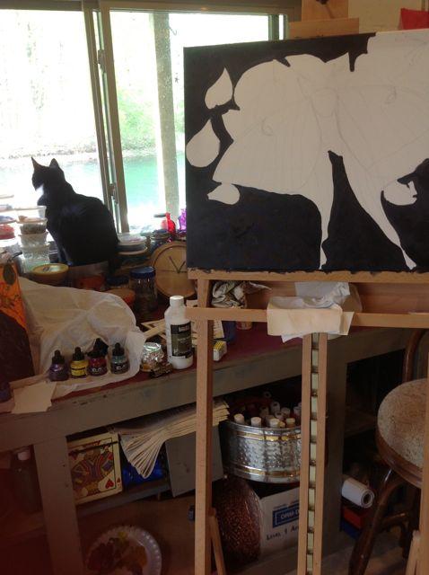 Mocee the studio cat in window and wip of luna moth
