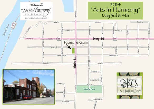 map of the town New Harmony, Indiana for Arts in Harmony
