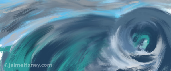 Representational painting of turbulent ocean and sky