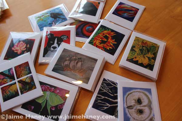 Note card sets and single cards