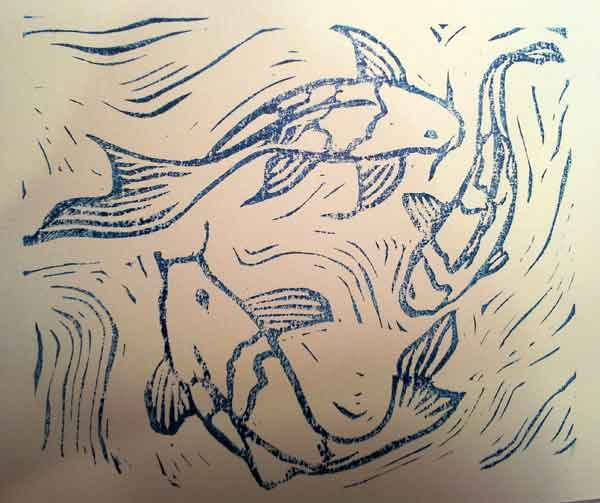 swimming koi fish mono print