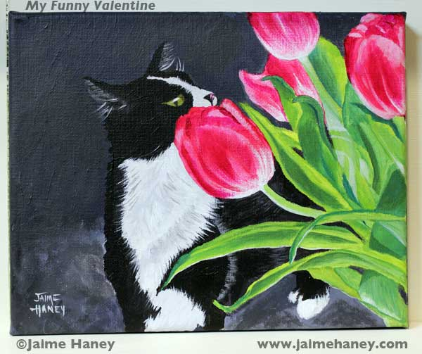 Finished painting of black and white tuxedo cat smelling pink tulips