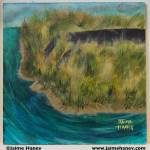 """Painting of a broken roadway that once crossed a creek that is now overgrown with weeds and natural grasses. A piece from the series """"The Retaliation of Mother Nature"""" where humankind no longer able to coexist in harmony becomes extinct after polluting the planet and allowing chemicals to pour into the rivers and oceans killing off all the sustainable natural resources. Able to revive herself after a short period of time without human contamination, vegetation begins to flourish while the remnants of people and their structures begin to fall into ruin."""