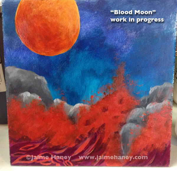 Blood colored full moon rises over angry red crashing waves