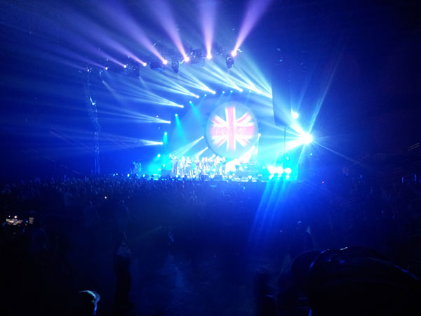 blue and purple lights from Brit Floyd concert