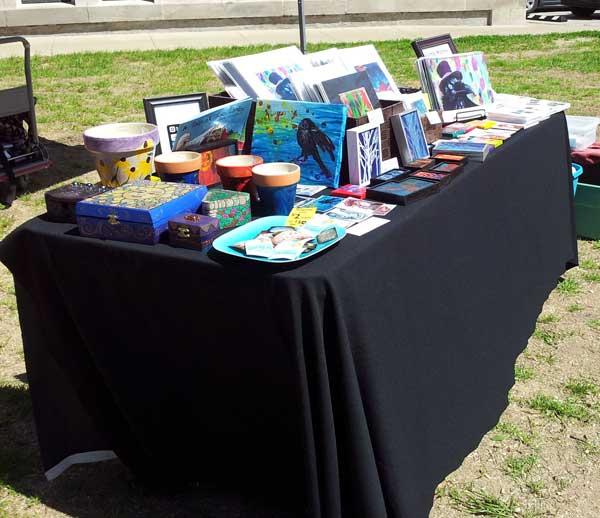 My table at Earth Day Art Crawl 2014
