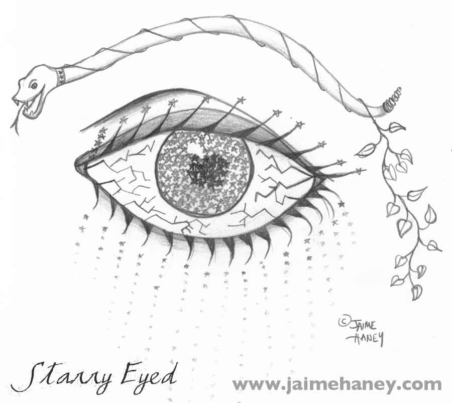 Starry eyed surreal drawing of eye