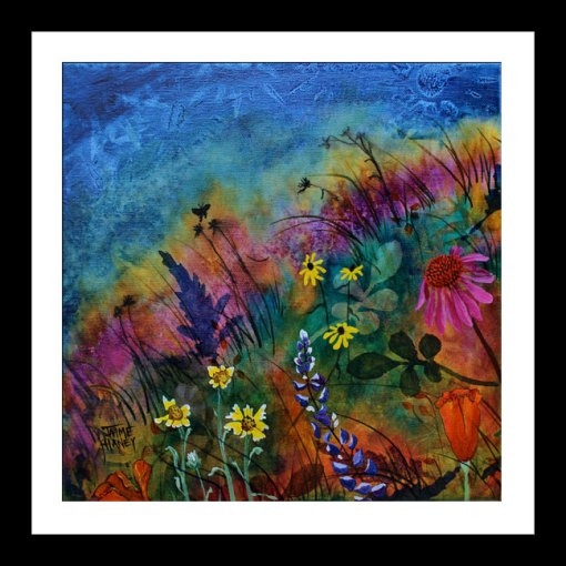 Wildflowers paitning - Abundant Blessings 1 shown in black frame