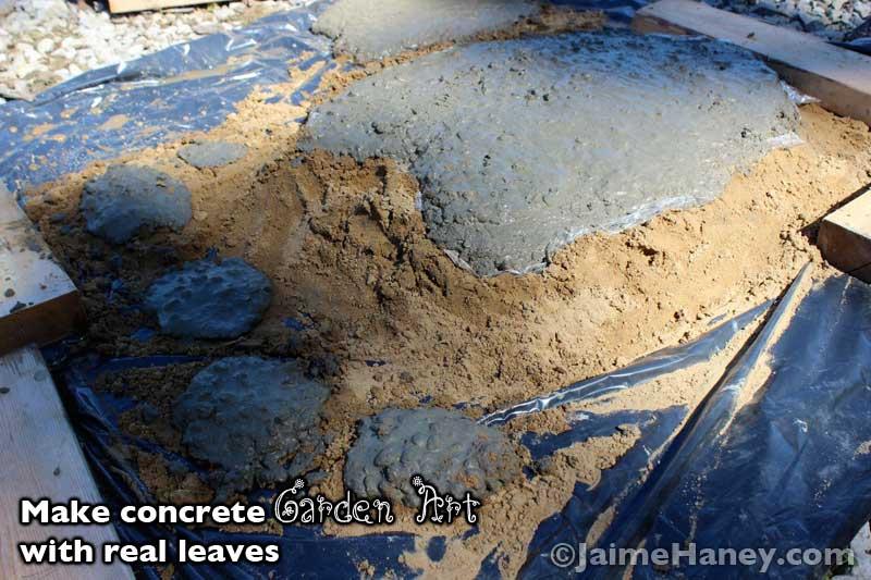 homemade concrete leaf for garden art
