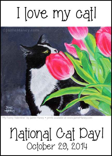 National Cat Day graphic with black and white tuxedo cat