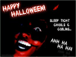 Scary red faced devil laughing for Halloween Night!