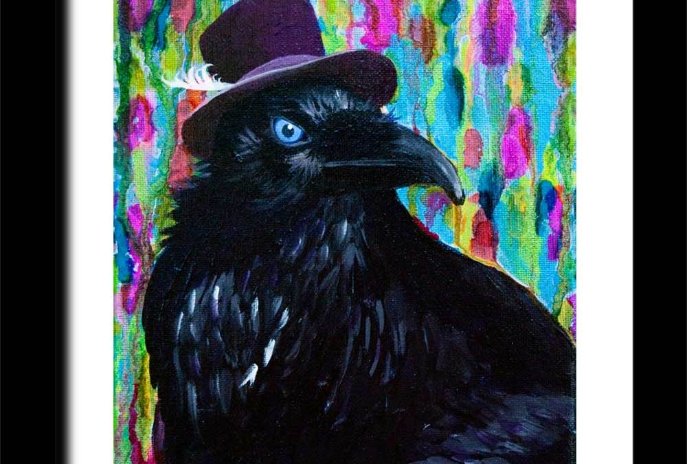 Beautiful Dreamer ~ A distinguished raven wearing a purple top hat & Day 11