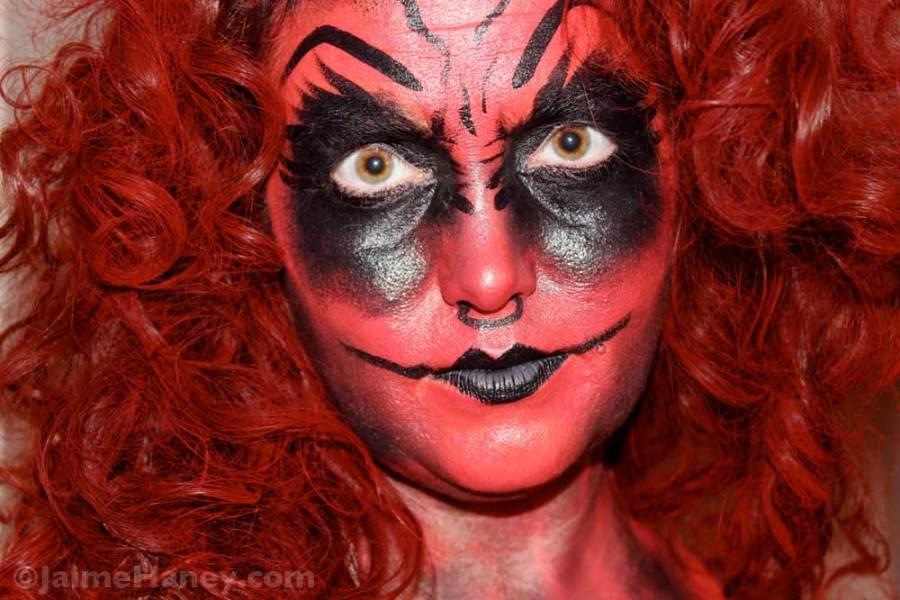 Step 7 - paint hair flamboyant red