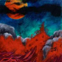 Full red blood moon over crashing waves of red and violet into the giant rocks along a coast