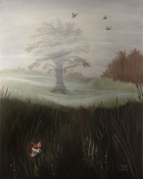 Mysterious Morn' painting of a foggy landscape with a little red fox hiding in the weeds.