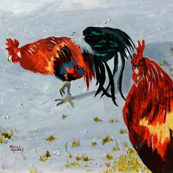 Roosters in New Harmony scratching for food