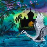 Crane taking flight from water in a magical tropical evening near a palace