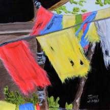Tibetan Prayer flags gently swaying in the breeze. Zen like
