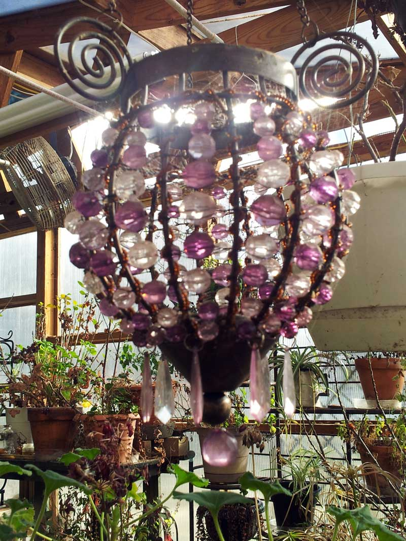 purple beaded candle chandelier