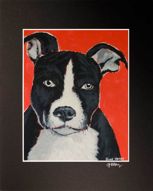 Pit bull puppy painting print in black mat
