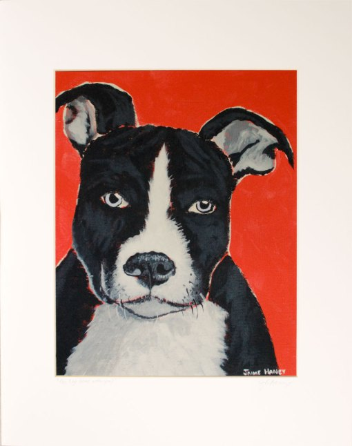 Pit bull puppy painting print in white mat