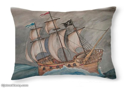 pillow with wooden ship