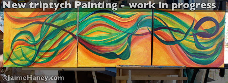 """New Triptych Painting """"Mellifluous Wind"""""""