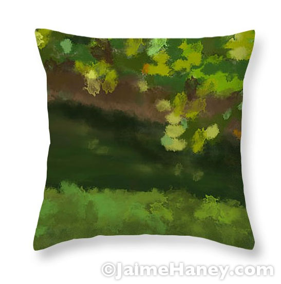 Summer lake view painting on a pillow for your couch or sofa or bed